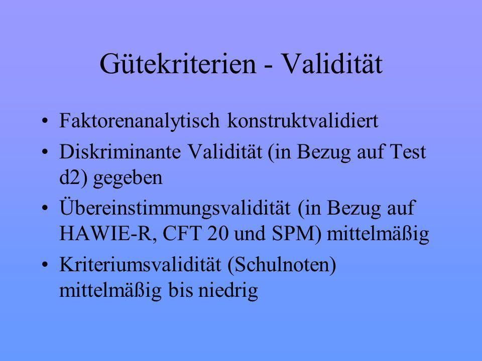Gütekriterien - Validität Faktorenanalytisch konstruktvalidiert Diskriminante Validität (in Bezug auf Test d2) gegeben Übereinstimmungsvalidität (in Bezug auf HAWIE-R, CFT 20 und SPM) mittelmäßig Kriteriumsvalidität (Schulnoten) mittelmäßig bis niedrig