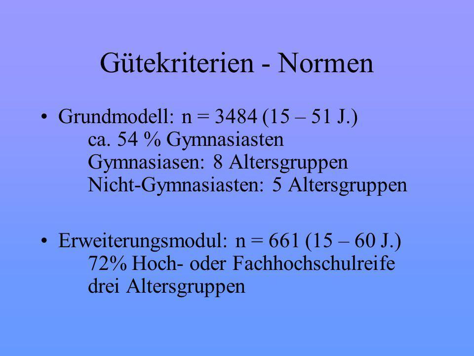 Gütekriterien - Normen Grundmodell: n = 3484 (15 – 51 J.) ca.