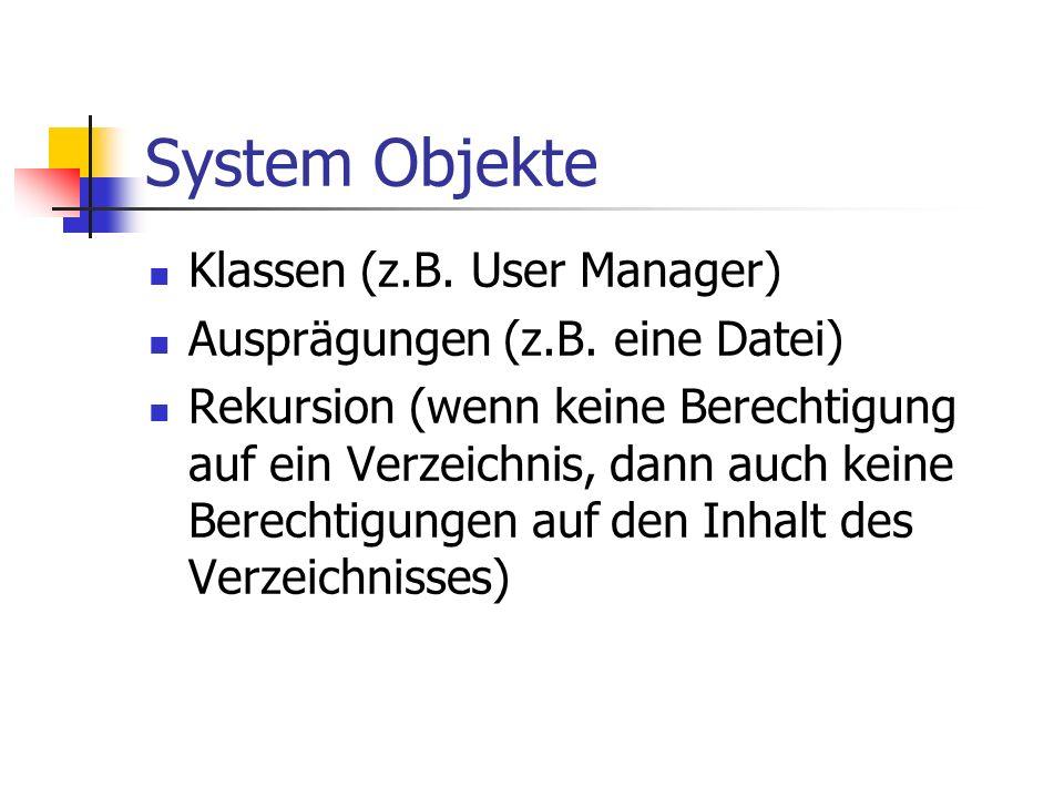 System Objekte Klassen (z.B. User Manager) Ausprägungen (z.B.