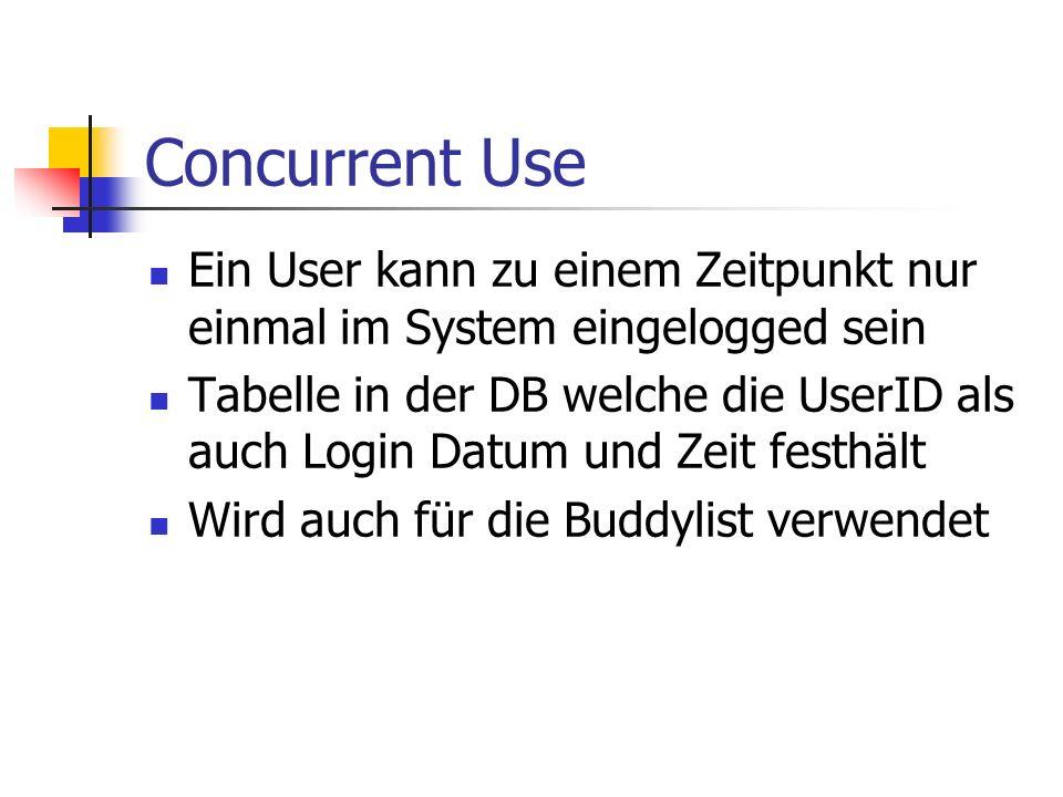 Concurrent Use Ein User kann zu einem Zeitpunkt nur einmal im System eingelogged sein Tabelle in der DB welche die UserID als auch Login Datum und Zeit festhält Wird auch für die Buddylist verwendet