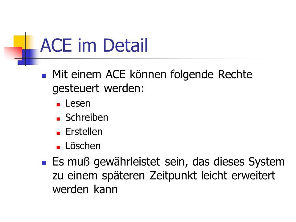 ACE im Detail Mit einem ACE können folgende Rechte gesteuert werden: Lesen Schreiben Erstellen Löschen Es muß gewährleistet sein, das dieses System zu einem späteren Zeitpunkt leicht erweitert werden kann