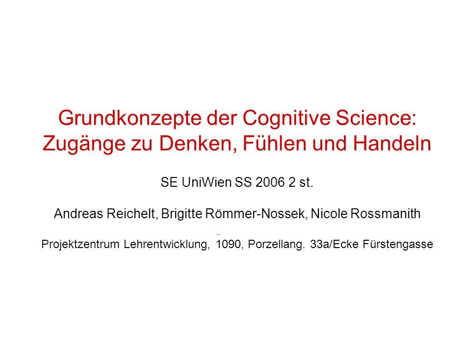 Grundkonzepte der Cognitive Science: Zugänge zu Denken, Fühlen und Handeln SE UniWien SS 2006 2 st. Andreas Reichelt, Brigitte Römmer-Nossek, Nicole R