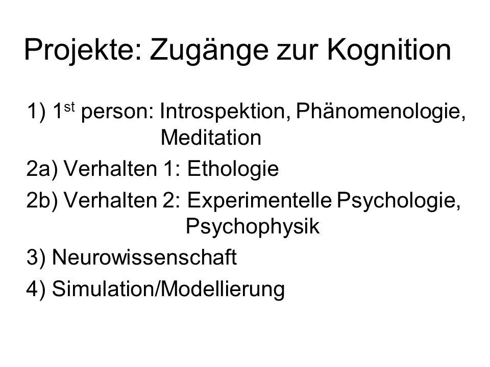 Projekte: Zugänge zur Kognition 1) 1 st person: Introspektion, Phänomenologie, Meditation 2a) Verhalten 1: Ethologie 2b) Verhalten 2: Experimentelle P