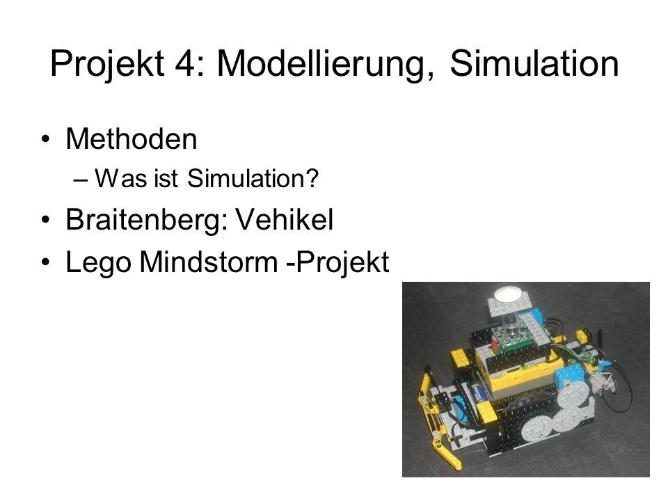 Projekt 4: Modellierung, Simulation Methoden –Was ist Simulation? Braitenberg: Vehikel Lego Mindstorm -Projekt