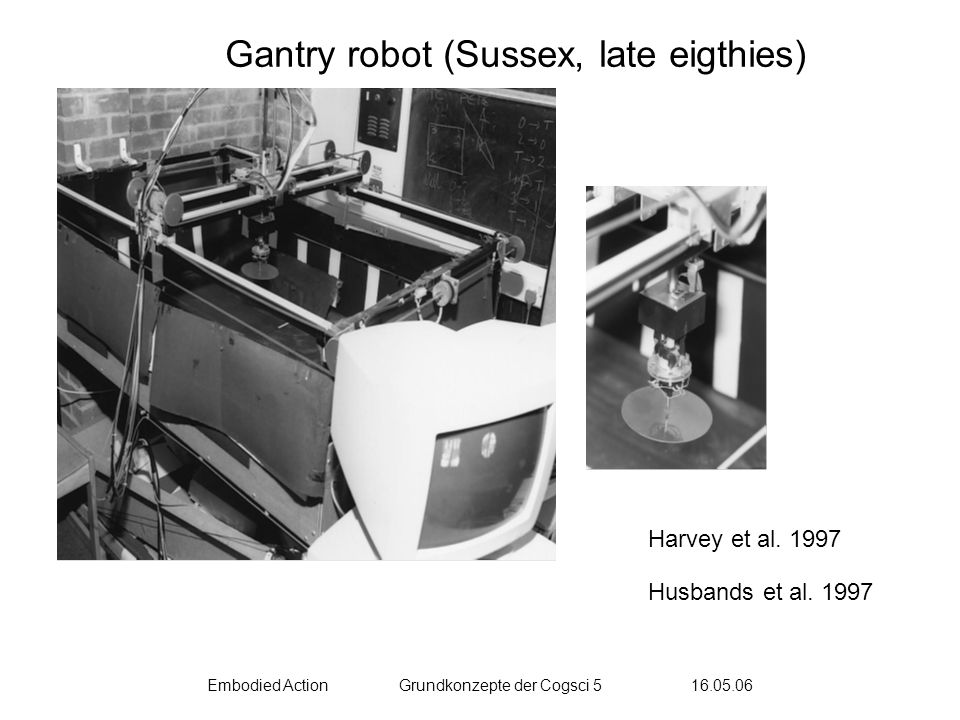 Embodied ActionGrundkonzepte der Cogsci 5 16.05.06 Harvey et al. 1997 Husbands et al. 1997 Gantry robot (Sussex, late eigthies)