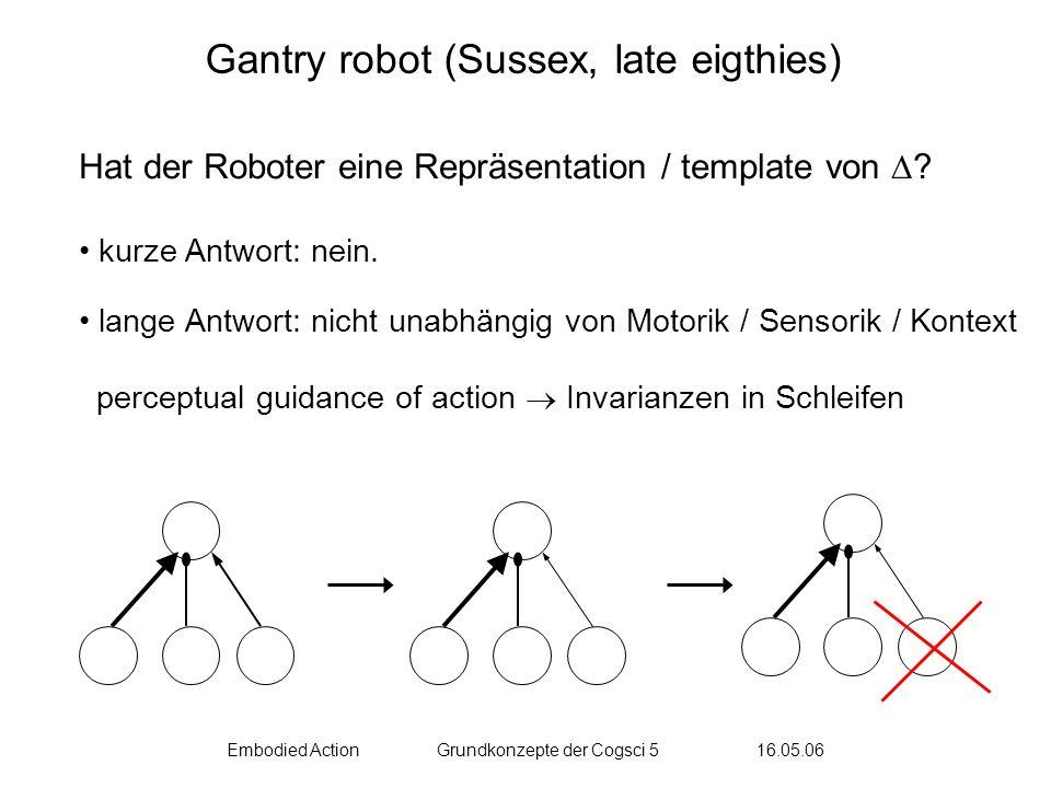 Embodied ActionGrundkonzepte der Cogsci 5 16.05.06 Brooks 1986 Rodney Brooks Subsumption Architecture jedes dieser Module ist ein extrem simpler controller Module kommunizieren minimal (außer über die Umwelt) Module inhibieren sich gegenseitig (Hierarchie)