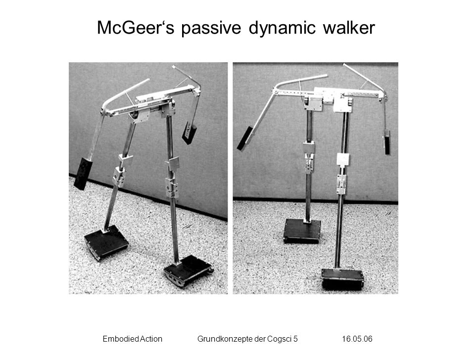 Embodied ActionGrundkonzepte der Cogsci 5 16.05.06 McGeers passive dynamic walker
