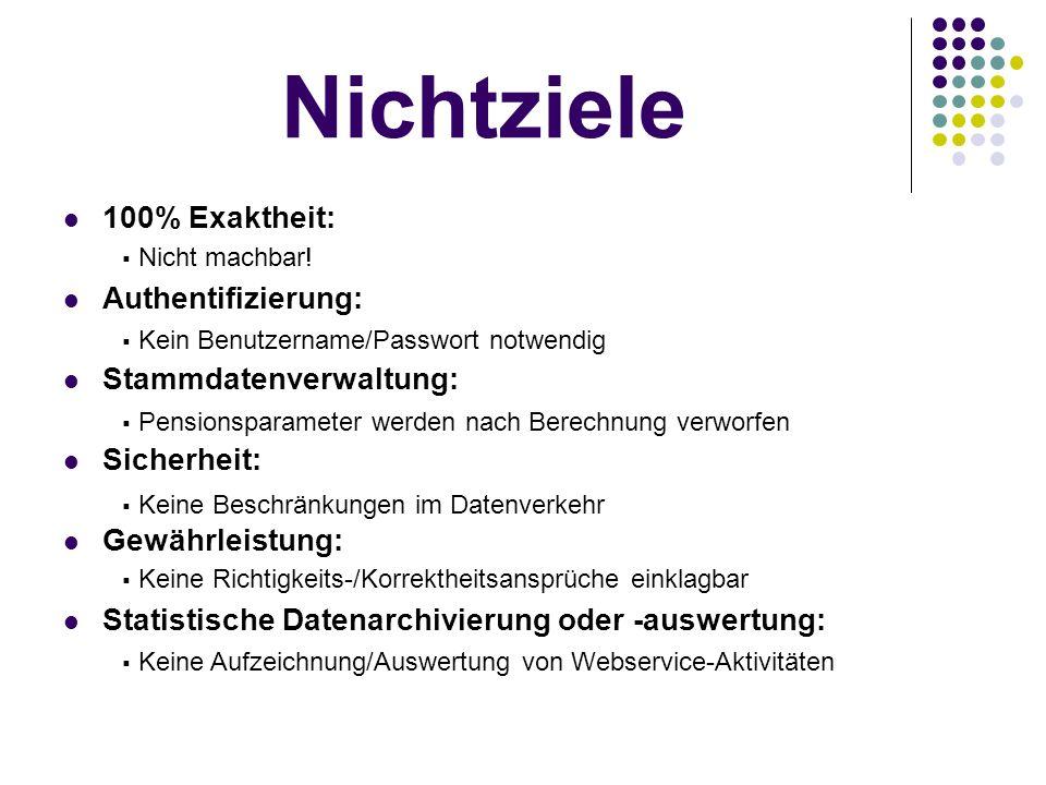 Nichtziele 100% Exaktheit: Authentifizierung: Stammdatenverwaltung: Sicherheit: Gewährleistung: Statistische Datenarchivierung oder -auswertung: Nicht machbar.