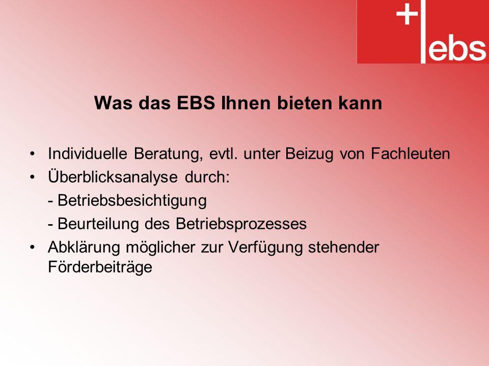 Was das EBS Ihnen bieten kann Individuelle Beratung, evtl.