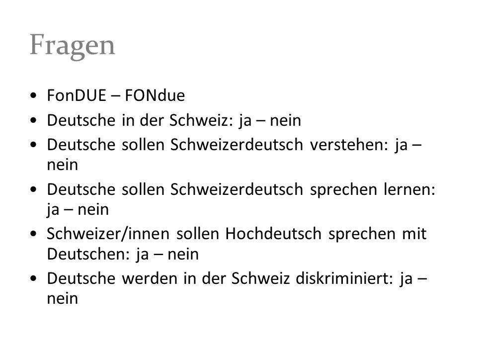 Fragen FonDUE – FONdue Deutsche in der Schweiz: ja – nein Deutsche sollen Schweizerdeutsch verstehen: ja – nein Deutsche sollen Schweizerdeutsch sprec