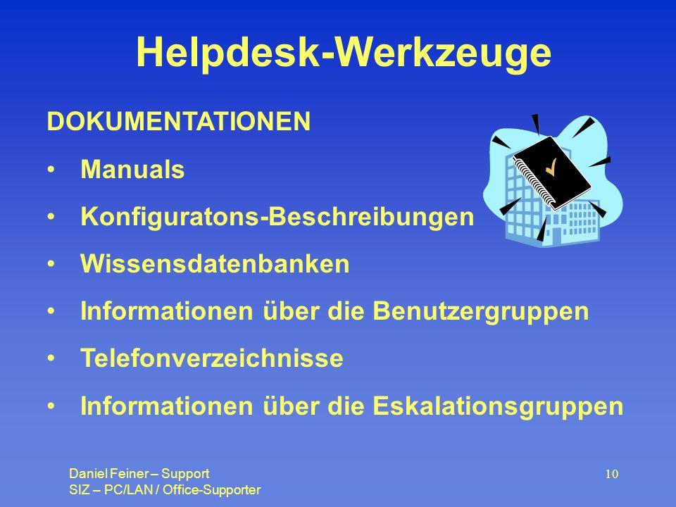Daniel Feiner – Support SIZ – PC/LAN / Office-Supporter 10 Helpdesk-Werkzeuge DOKUMENTATIONEN Manuals Konfiguratons-Beschreibungen Wissensdatenbanken Informationen über die Benutzergruppen Telefonverzeichnisse Informationen über die Eskalationsgruppen