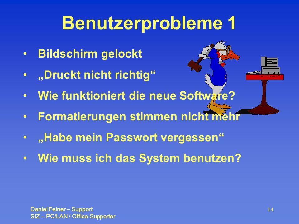 Daniel Feiner – Support SIZ – PC/LAN / Office-Supporter 14 Benutzerprobleme 1 Bildschirm gelockt Druckt nicht richtig Wie funktioniert die neue Software.