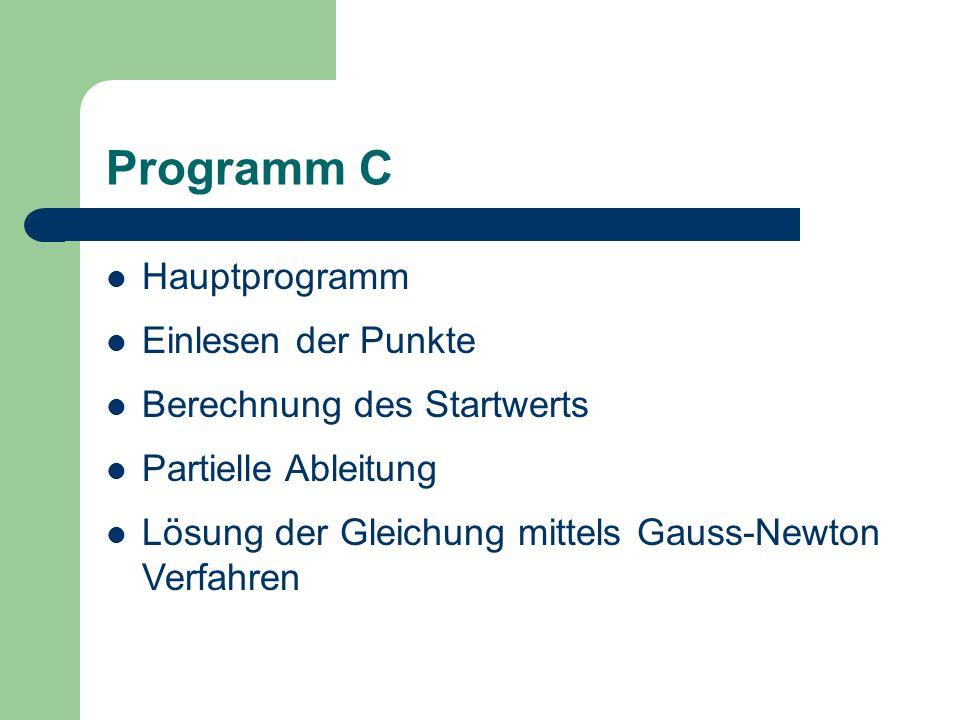 Programm C Hauptprogramm Einlesen der Punkte Berechnung des Startwerts Partielle Ableitung Lösung der Gleichung mittels Gauss-Newton Verfahren