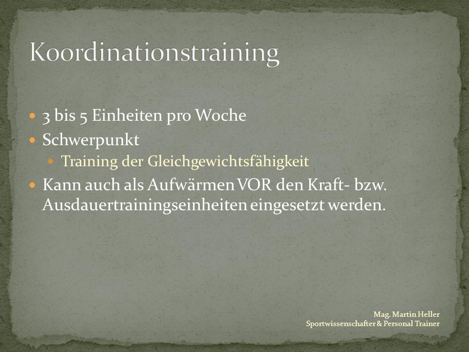 Mag. Martin Heller Sportwissenschafter & Personal Trainer 3 bis 5 Einheiten pro Woche Schwerpunkt Training der Gleichgewichtsfähigkeit Kann auch als A