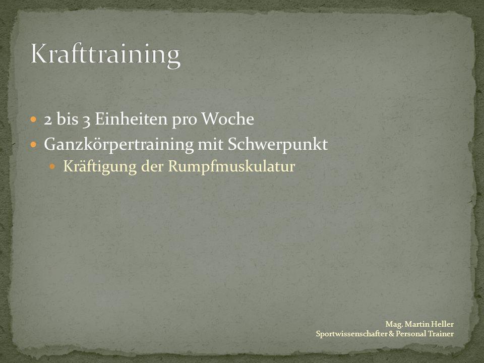 Mag. Martin Heller Sportwissenschafter & Personal Trainer 2 bis 3 Einheiten pro Woche Ganzkörpertraining mit Schwerpunkt Kräftigung der Rumpfmuskulatu