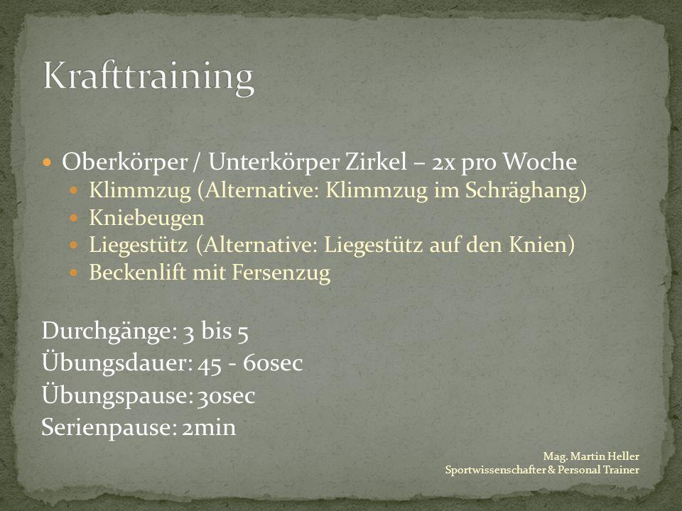 Mag. Martin Heller Sportwissenschafter & Personal Trainer Oberkörper / Unterkörper Zirkel – 2x pro Woche Klimmzug (Alternative: Klimmzug im Schräghang