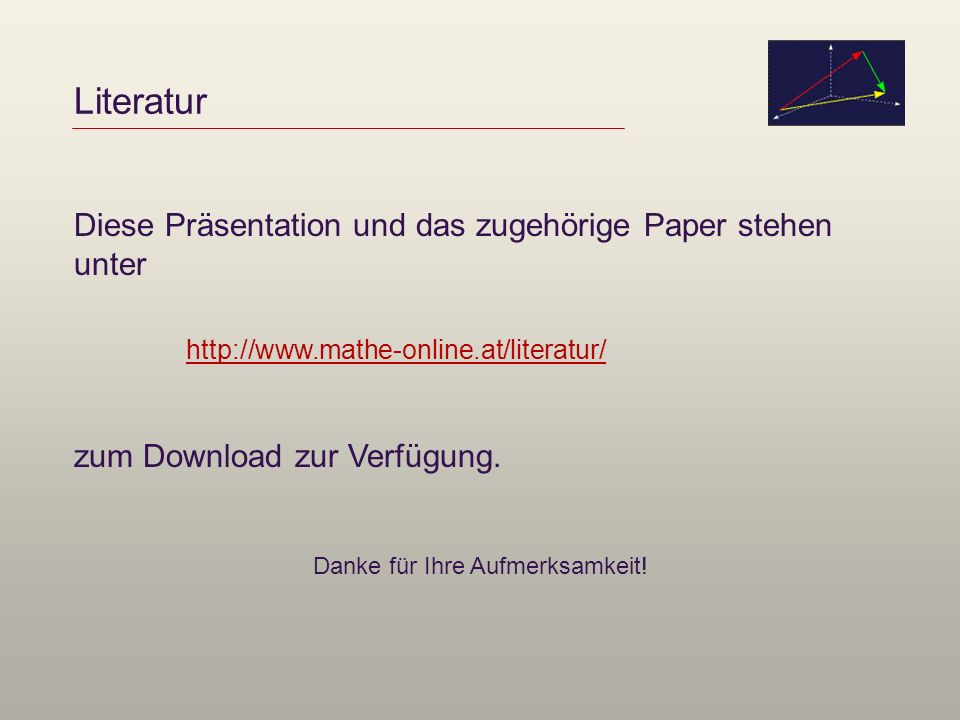 Literatur Diese Präsentation und das zugehörige Paper stehen unter zum Download zur Verfügung. Danke für Ihre Aufmerksamkeit! http://www.mathe-online.