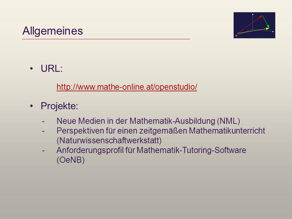 Allgemeines URL: Projekte: http://www.mathe-online.at/openstudio/ -Neue Medien in der Mathematik-Ausbildung (NML) -Perspektiven für einen zeitgemäßen