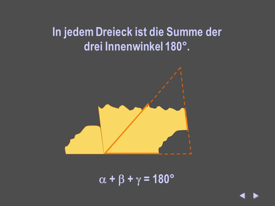 Winkelsumme In jedem Dreieck ist die Summe der drei Innenwinkel 180°. + + = 180°