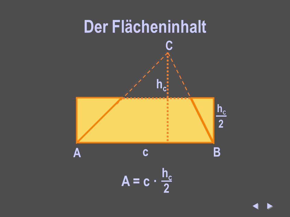 Der Flächeninhalt c A B C hchc 2 A B C haha 2 b A B C hbhb 2 a A = c · hchc 2 A = a · haha 2 A = b · hbhb 2