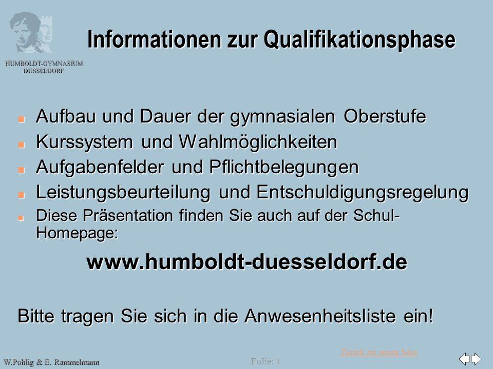 Zurück zur ersten Seite HUMBOLDT-GYMNASIUM DÜSSELDORF W.Pohlig & E. Rammelmann Folie: 1 Informationen zur Qualifikationsphase n Aufbau und Dauer der g