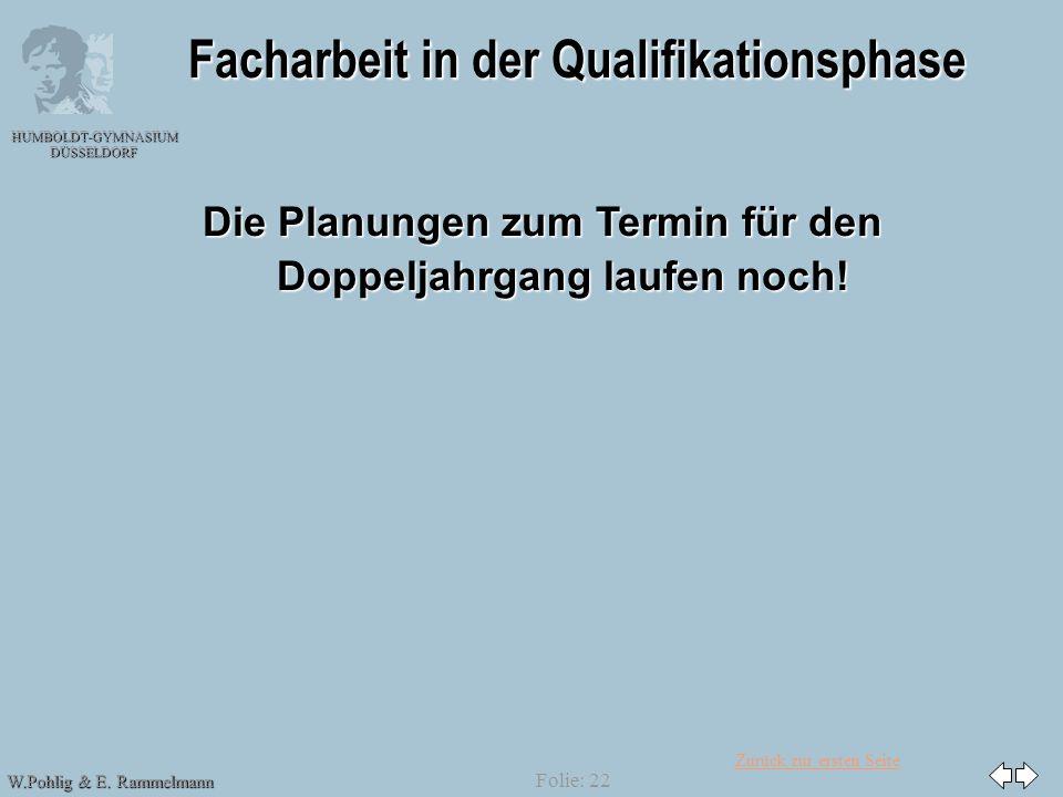 Zurück zur ersten Seite HUMBOLDT-GYMNASIUM DÜSSELDORF W.Pohlig & E. Rammelmann Folie: 22 Facharbeit in der Qualifikationsphase Die Planungen zum Termi