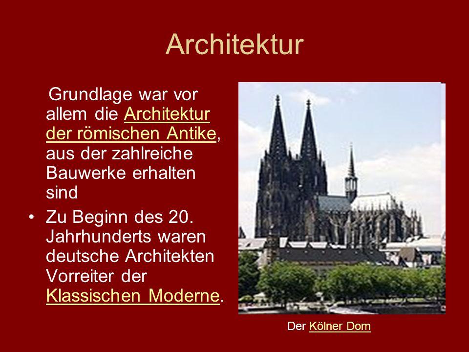 Architektur Grundlage war vor allem die Architektur der römischen Antike, aus der zahlreiche Bauwerke erhalten sindArchitektur der römischen Antike Zu