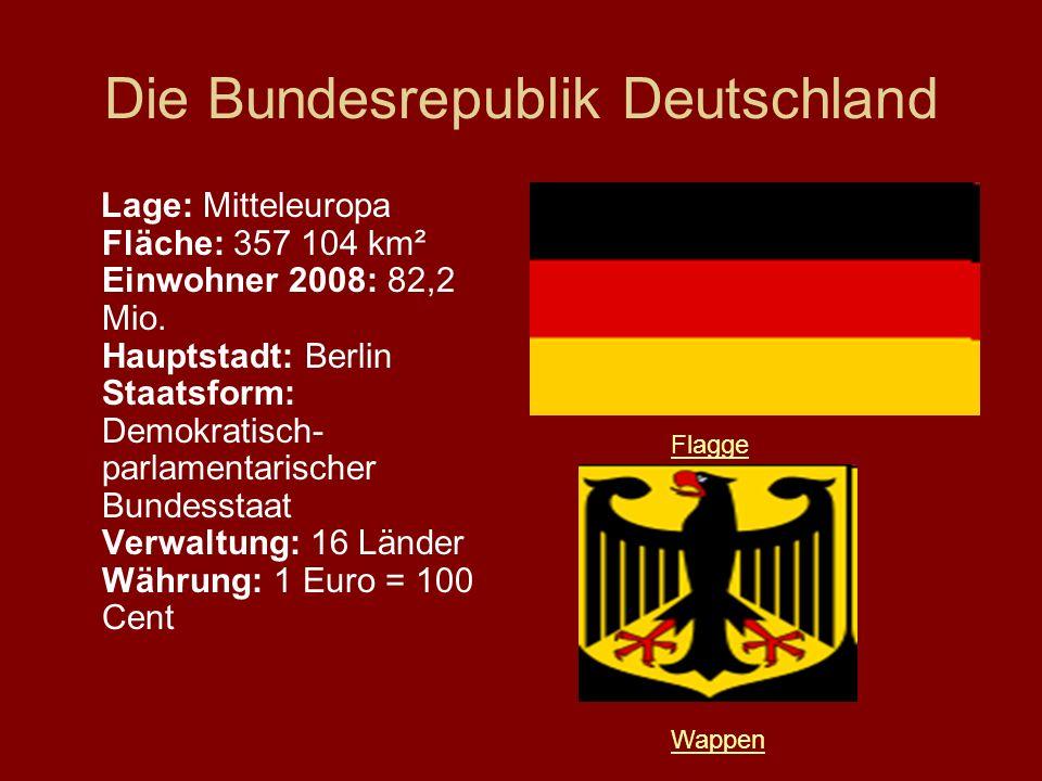 Die Bundesrepublik Deutschland Lage: Mitteleuropa Fläche: 357 104 km² Einwohner 2008: 82,2 Mio. Hauptstadt: Berlin Staatsform: Demokratisch- parlament