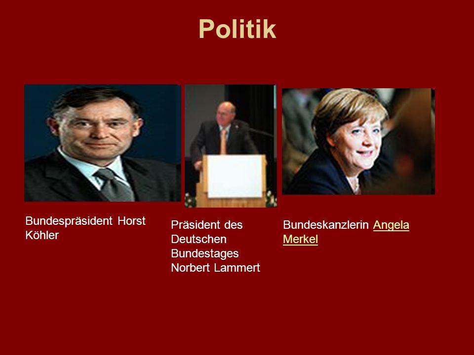 Politik Bundespräsident Horst Köhler Präsident des Deutschen Bundestages Norbert Lammert Bundeskanzlerin Angela MerkelAngela Merkel