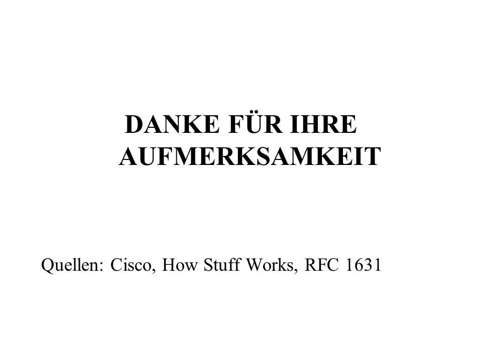 DANKE FÜR IHRE AUFMERKSAMKEIT Quellen: Cisco, How Stuff Works, RFC 1631