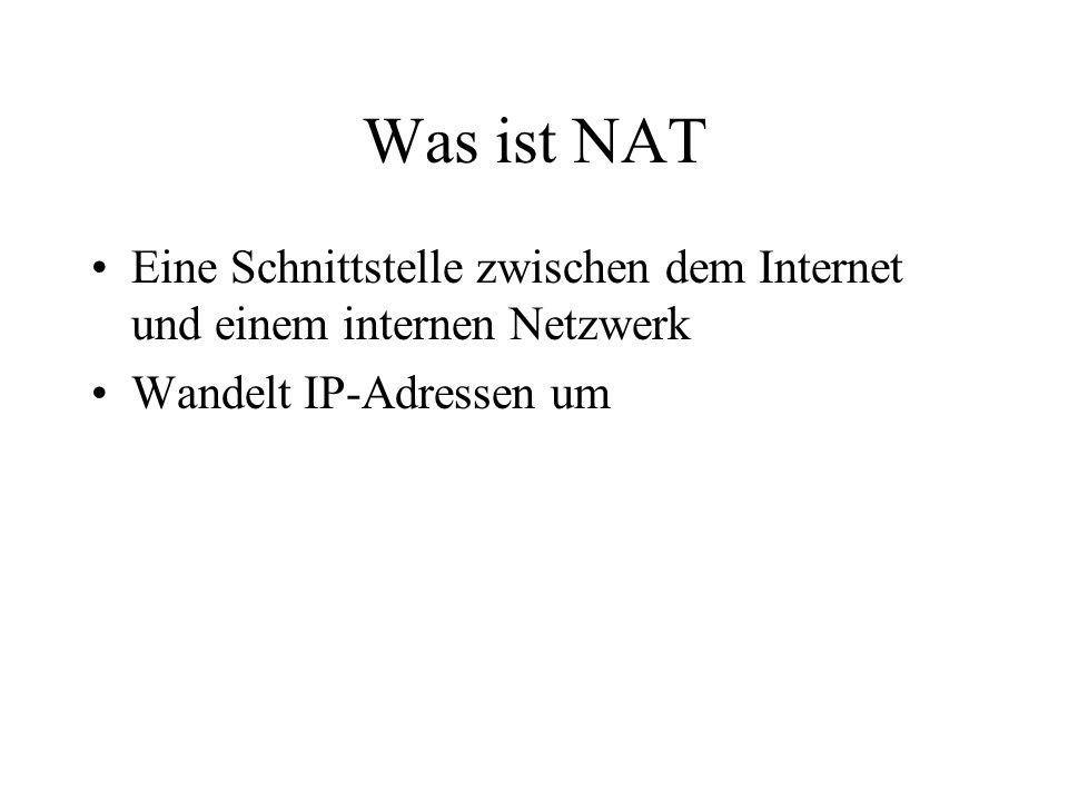 Was ist NAT Eine Schnittstelle zwischen dem Internet und einem internen Netzwerk Wandelt IP-Adressen um