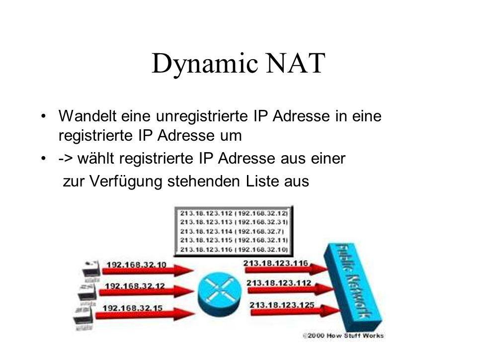 Overloading / Masquerading NAT Wandelt mehrere unregistrierte IP Adressen in eine einzige registrierte IP Adresse um, unter Verwendung von verschiedenen Ports.