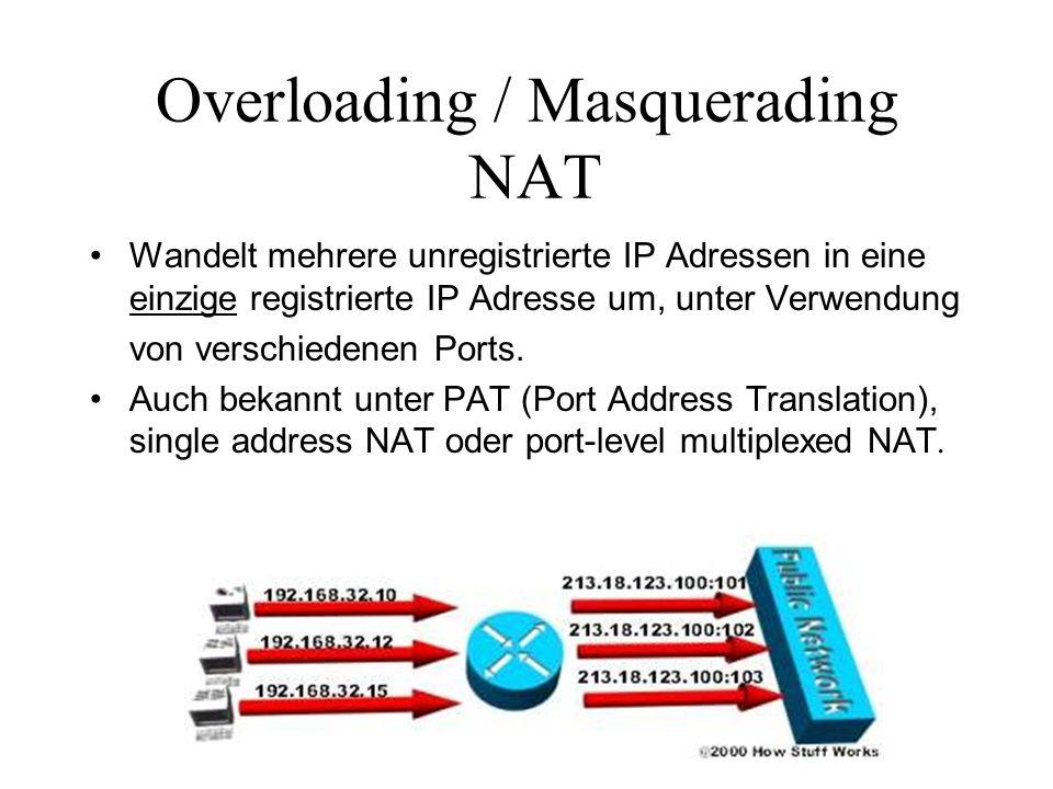 Overloading / Masquerading NAT Wandelt mehrere unregistrierte IP Adressen in eine einzige registrierte IP Adresse um, unter Verwendung von verschieden