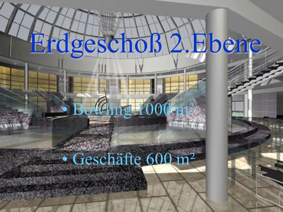 Bowling 1000 m² Geschäfte 600 m² Erdgeschoß 2.Ebene