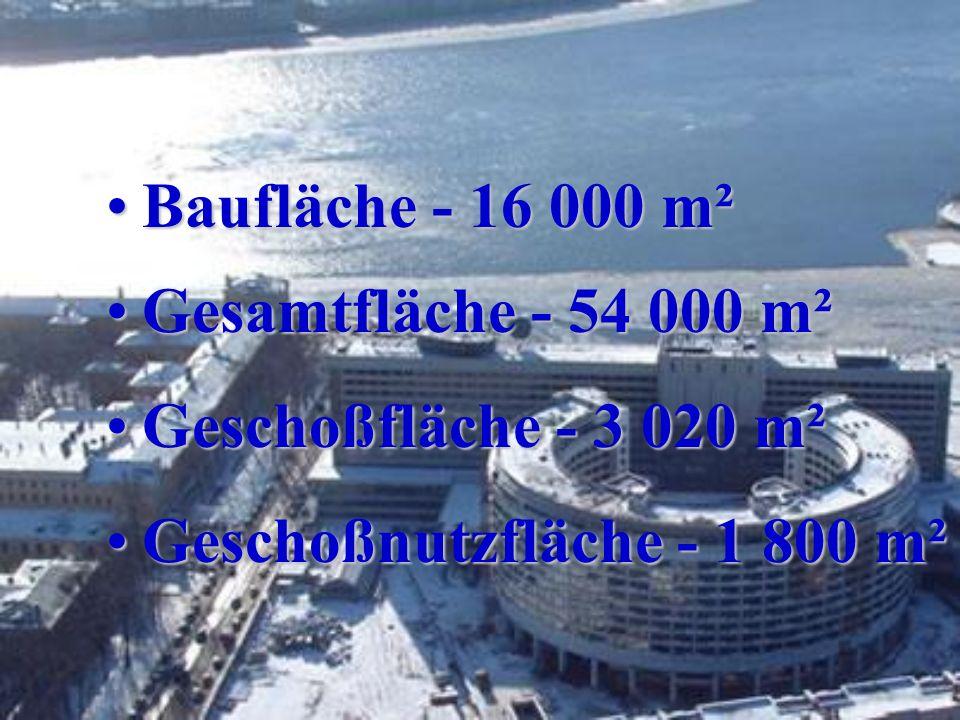 Baufläche - 16 000 m²Baufläche - 16 000 m² Gesamtfläche - 54 000 m²Gesamtfläche - 54 000 m² Geschoßfläche - 3 020 m²Geschoßfläche - 3 020 m² Geschoßnutzfläche - 1 800 m²Geschoßnutzfläche - 1 800 m²