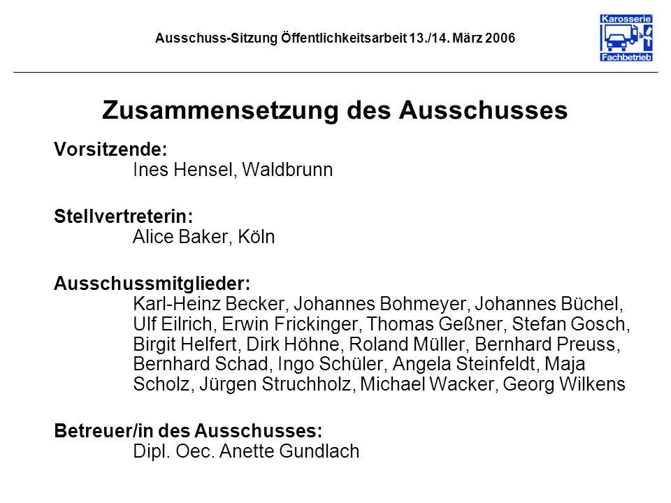 Ausschuss-Sitzung Öffentlichkeitsarbeit 13./14. März 2006 Zusammensetzung des Ausschusses Vorsitzende: Ines Hensel, Waldbrunn Stellvertreterin: Alice