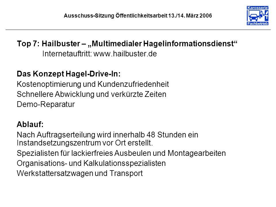 Ausschuss-Sitzung Öffentlichkeitsarbeit 13./14. März 2006 Top 7: Hailbuster – Multimedialer Hagelinformationsdienst Internetauftritt: www.hailbuster.d