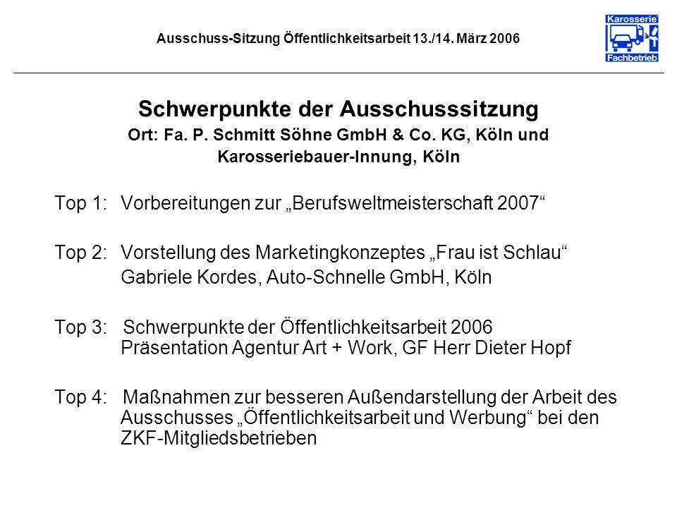 Ausschuss-Sitzung Öffentlichkeitsarbeit 13./14. März 2006 Schwerpunkte der Ausschusssitzung Ort: Fa. P. Schmitt Söhne GmbH & Co. KG, Köln und Karosser