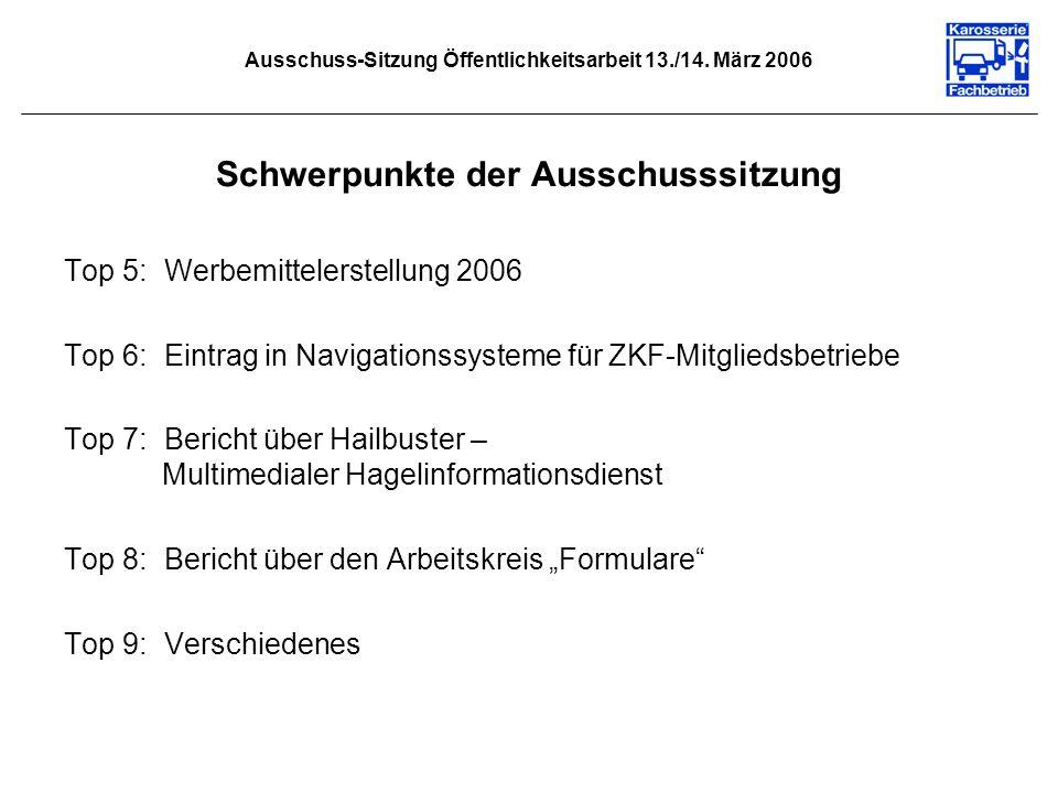 Ausschuss-Sitzung Öffentlichkeitsarbeit 13./14. März 2006 Schwerpunkte der Ausschusssitzung Top 5: Werbemittelerstellung 2006 Top 6: Eintrag in Naviga