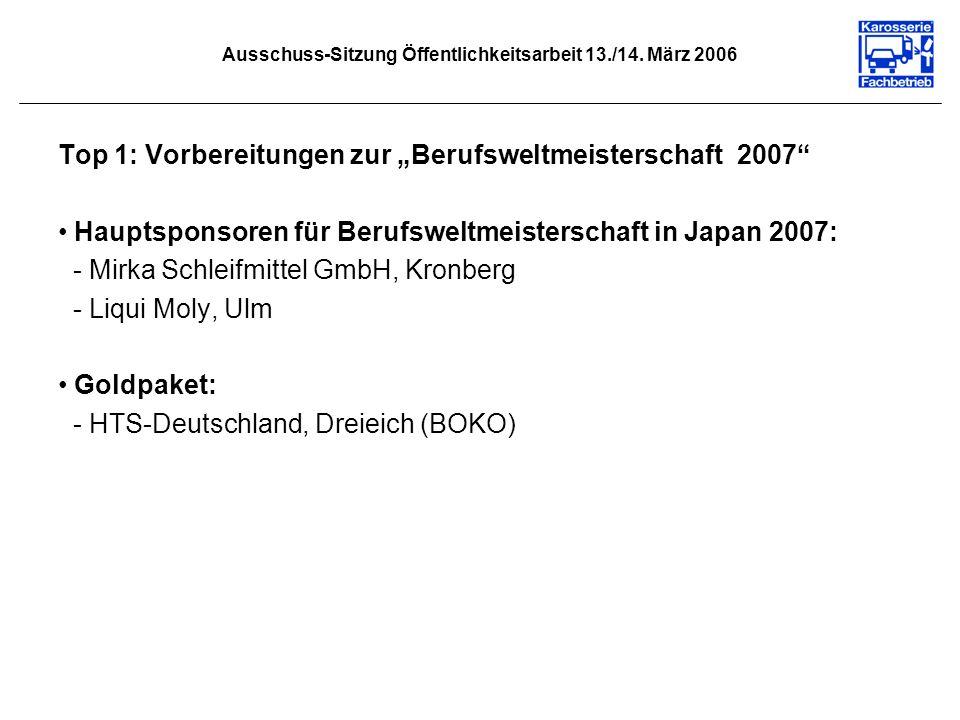 Ausschuss-Sitzung Öffentlichkeitsarbeit 13./14. März 2006 Top 1: Vorbereitungen zur Berufsweltmeisterschaft 2007 Hauptsponsoren für Berufsweltmeisters