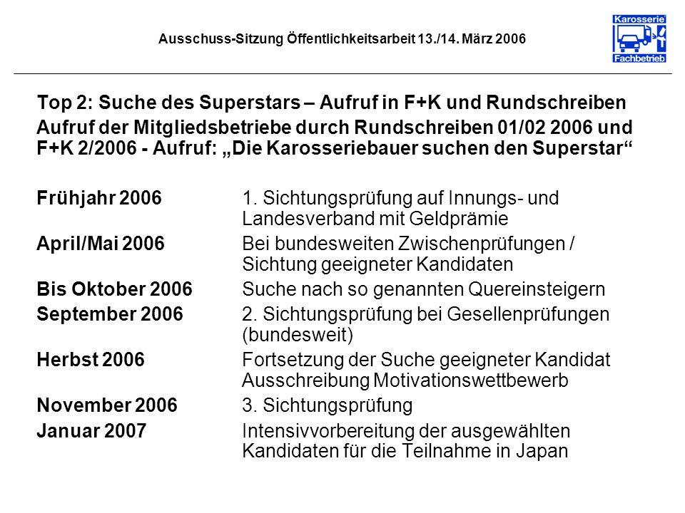 Ausschuss-Sitzung Öffentlichkeitsarbeit 13./14. März 2006 Top 2: Suche des Superstars – Aufruf in F+K und Rundschreiben Aufruf der Mitgliedsbetriebe d