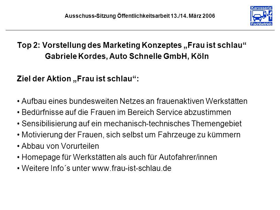 Ausschuss-Sitzung Öffentlichkeitsarbeit 13./14. März 2006 Top 2: Vorstellung des Marketing Konzeptes Frau ist schlau Gabriele Kordes, Auto Schnelle Gm