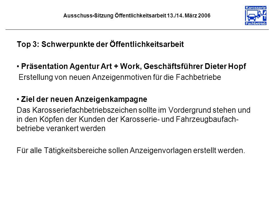Ausschuss-Sitzung Öffentlichkeitsarbeit 13./14. März 2006 Top 3: Schwerpunkte der Öffentlichkeitsarbeit Präsentation Agentur Art + Work, Geschäftsführ