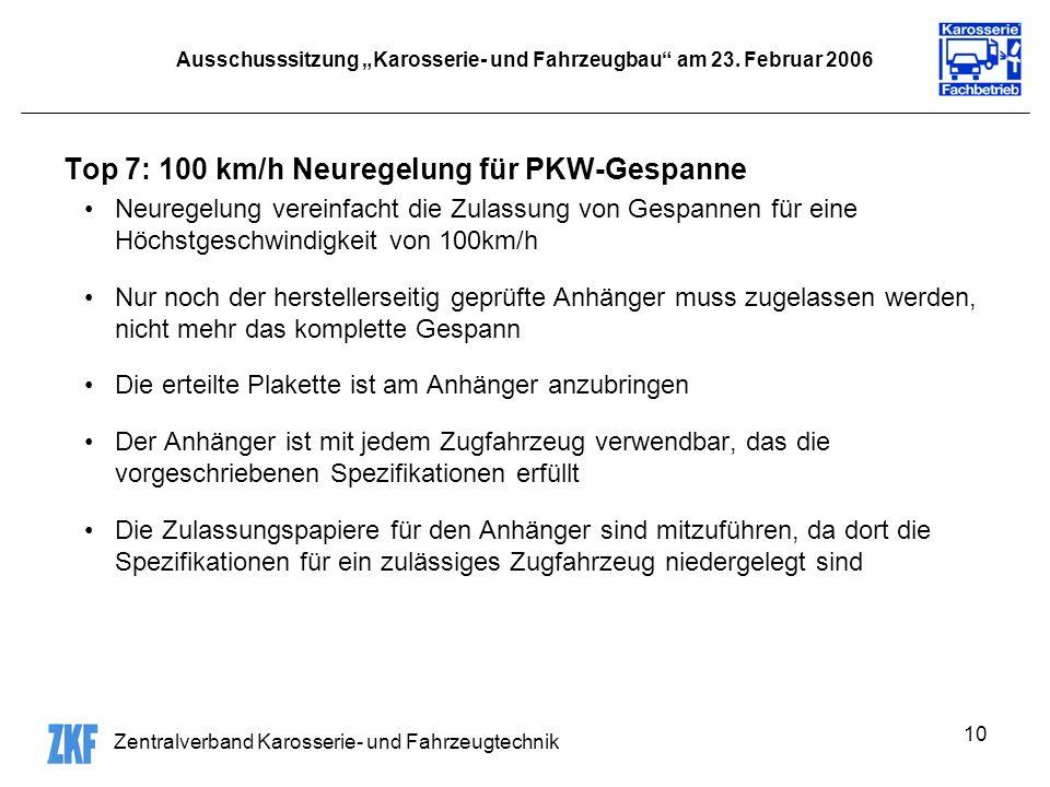 Zentralverband Karosserie- und Fahrzeugtechnik 10 Ausschusssitzung Karosserie- und Fahrzeugbau am 23.