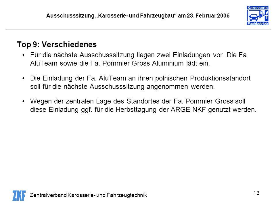 Zentralverband Karosserie- und Fahrzeugtechnik 13 Ausschusssitzung Karosserie- und Fahrzeugbau am 23.