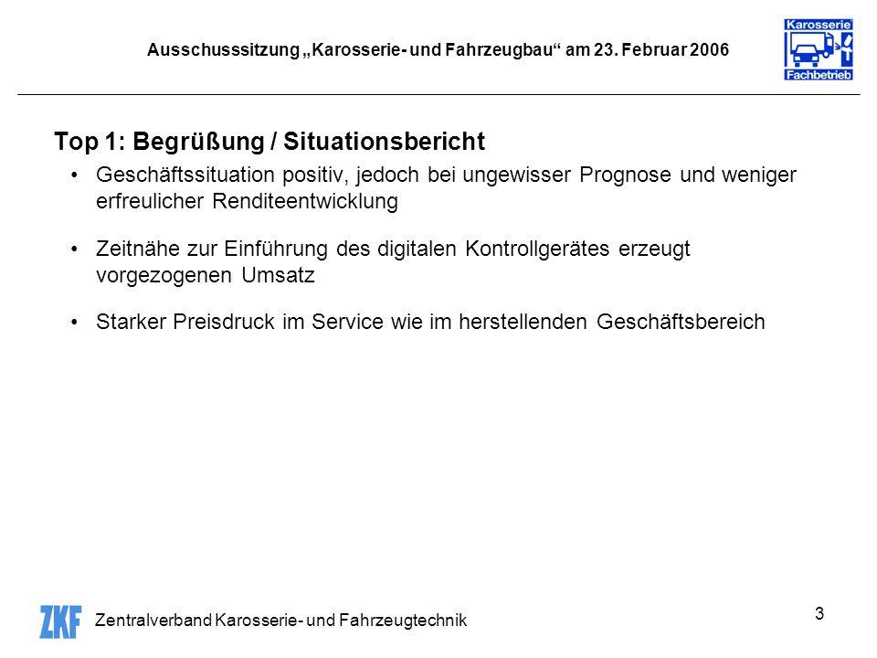 Zentralverband Karosserie- und Fahrzeugtechnik 3 Ausschusssitzung Karosserie- und Fahrzeugbau am 23.