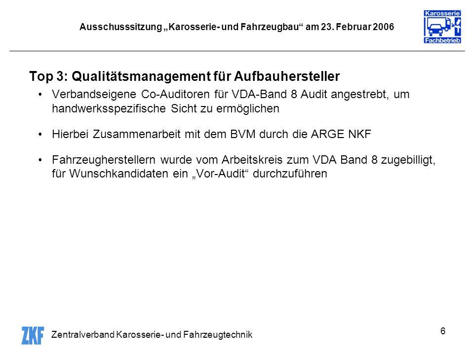 Zentralverband Karosserie- und Fahrzeugtechnik 6 Ausschusssitzung Karosserie- und Fahrzeugbau am 23.