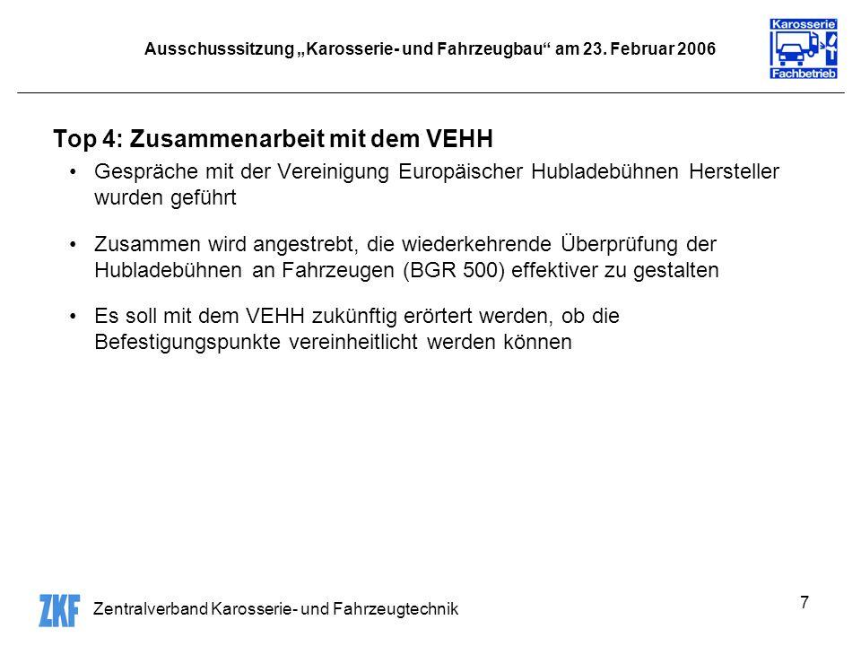 Zentralverband Karosserie- und Fahrzeugtechnik 7 Ausschusssitzung Karosserie- und Fahrzeugbau am 23.