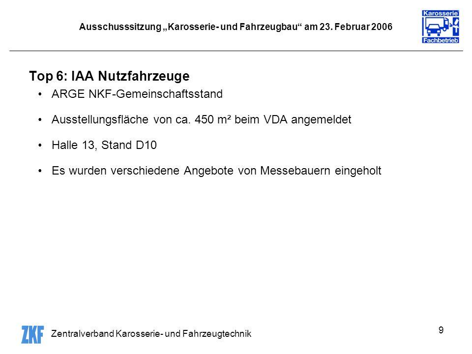 Zentralverband Karosserie- und Fahrzeugtechnik 9 Ausschusssitzung Karosserie- und Fahrzeugbau am 23.