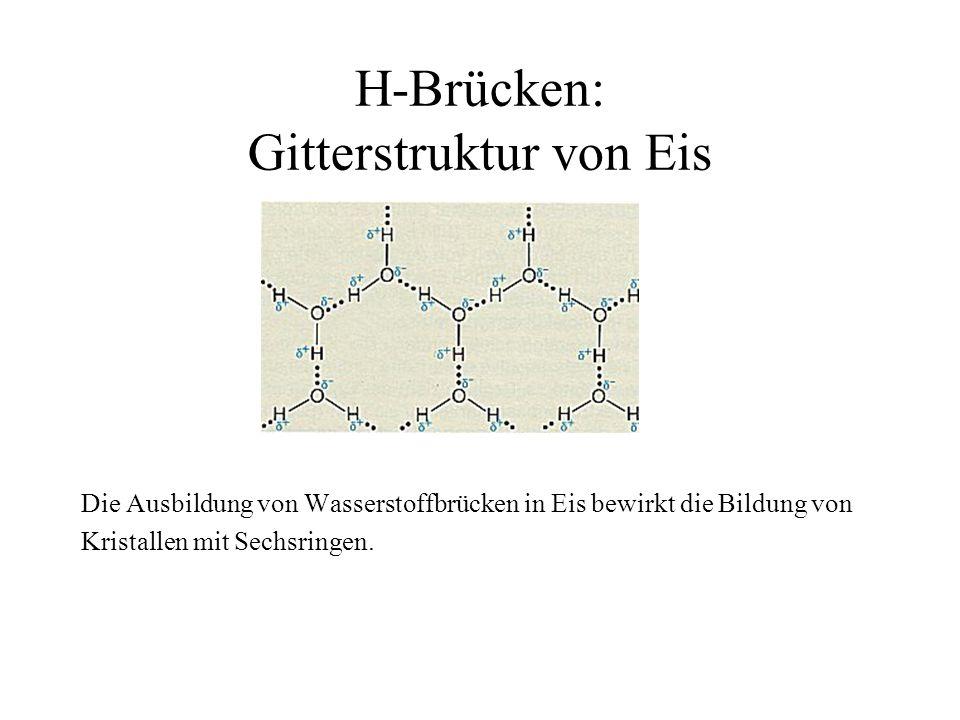 H-Brücken: Gitterstruktur von Eis Die Ausbildung von Wasserstoffbrücken in Eis bewirkt die Bildung von Kristallen mit Sechsringen.
